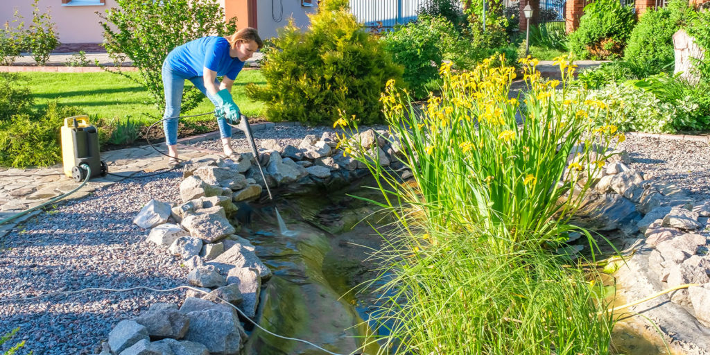 living color garden center woman cleaning pond